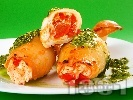 Рецепта Пълнени калмари с домати, чушки и сирене по сицилиански печени в тава на фурна